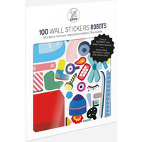100 Wall Removable Reusable Stickers - Robots