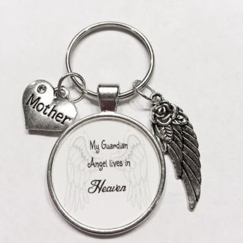 Mother Mom In Heaven Memory Guardian Angel Wing Miss You Keychain