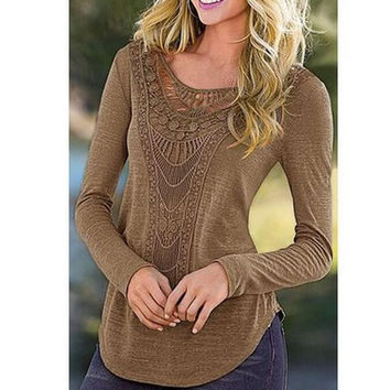 Lace Cut Out Long Sleeve Asymmetric T-Shirt