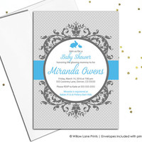 Custom baby shower invitations for boys - printable baby shower invite - blue and gray - digital invitations for baby shower (790)