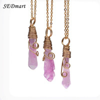 SEDmart Handmade Colorful Wire Wrapped Raw Natural Stone Women Pendant Necklace Amethyst Pink Quartz Dursy Crystal Necklaces