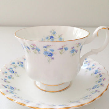 English Bone China Royal Albert Tea Cup and Saucer Montrose Shape Memory Lane Pattern Cottage Style