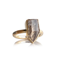 Raw white quartz crystal antique gold witch ring boho gypsy women- brass