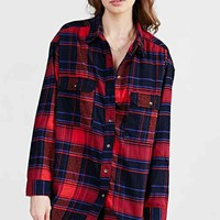 BDG Flannel Curved-Hem Shirt- Red