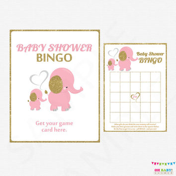 Pink and Gold Baby Shower Bingo Game, Elephant Baby Shower, Girl Baby Shower, Printable Baby Shower Bingo - INSTANT DOWNLOAD EL0004-lpg
