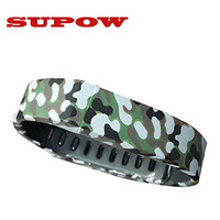 """SUPOW® Replacement Wristband, Rubber Band With Clasps For Fitbit Flex Only /No tracker/ Wireless Activity Bracelet Sport Wristband Fit Bit Flex Bracelet Sport Arm Band Armband (Camouflage White Mark) (S:140mm-176mm/5.5""""-6.9"""")"""