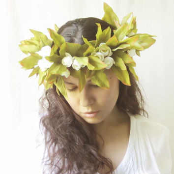 Large Flower Crown, Big Floral Halo, Leaf Circlet, Bridal Statement Headpiece, Woodland Wedding Hair Accessories, Midsummer Night's Dream