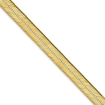 6.5mm, 14k Yellow Gold, Solid Herringbone Chain Necklace