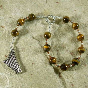 Bragi Pocket Prayer Beads in Tiger Eye: Norse God of Poetry and Inspiration