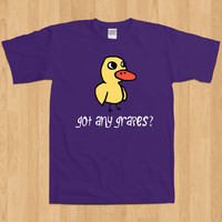 Do You Got Any Grapes Waddle Cartoon Cute Duck Song Youtube Music Lemonade Stand Funny Joke Awesome Kids Melody Geek Nerd T-Shirt Tee Shirt