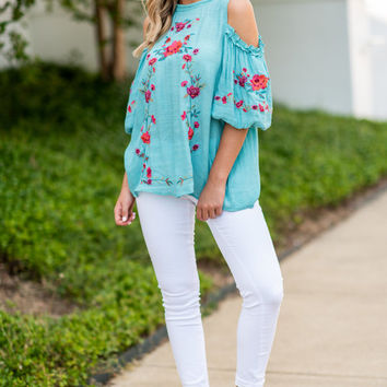 Worth Some Romance Top, Turquoise