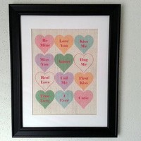 Valentines Day Conversation Hearts 11x14 Framed White Burlap Print