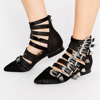 Jeffrey Campbell Psych Multi Buckle Flat Ankle Boots at asos.com