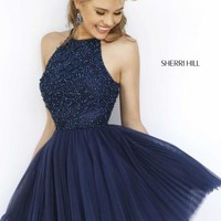 Sherri Hill Short Beaded A Line Dress 32335