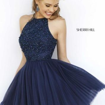 d6e999298b6 Sherri Hill Short Beaded A Line Dress 32335