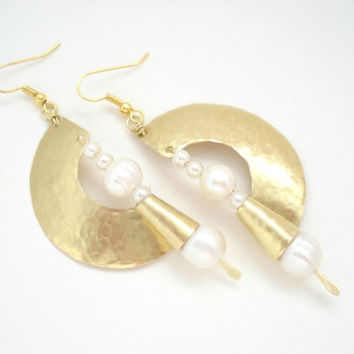 Unique Design Earrings-Hand hammered Metalwork Earrings-Fold Formed Long Contemporary Earrings-Gold Bronze Earrings with Fresh Water Pearls