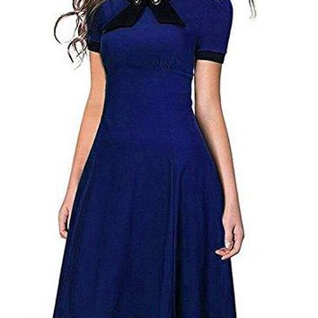 SYLVIEY Womens Scoop Neck Elegant Bow Vintage 1940s Casual Evening Dress