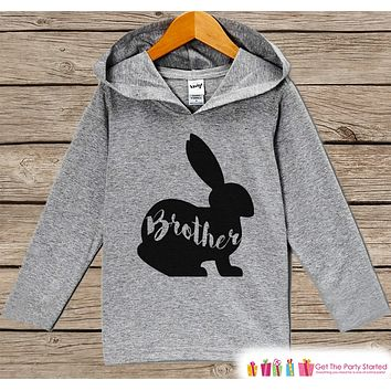 Boys Easter Outfit - Easter Brother Bunny Hoodie - Easter Spring Pullover - Baby Boys Easter Outfit - Egg Hunt - Kids Grey Toddler Hoodie