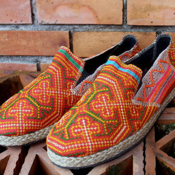 Mens Shoes in Ethnic Hmong Embroidery and Indigo Batik Vegan Loafer  US 13.5