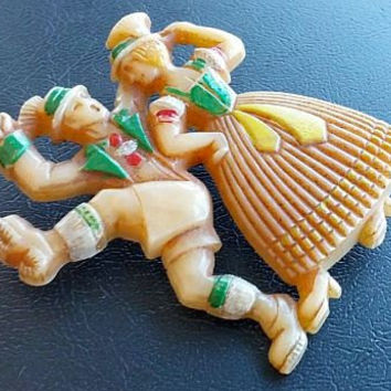"CZECH Brooch Pin Celluloid & Hand Painted Enamel Peasant Dancers Antique Vintage 2"" Nice"