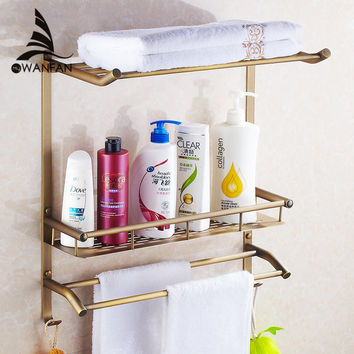 Wall Mount Copper 2 Layers Storage Basket Shower Room Bathroom Towel Rack Soap Dish Shampoo Rack Bathroom Shelves Hj-821