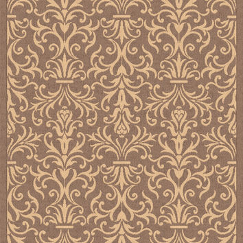 Dynamic Rugs Piazza Brown Medallion/Damask Rectangle Area Rug