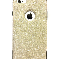 iPhone 6 Plus Custom Glitter Otterbox Commuter Cute Case,  Custom  Glitter White Gold / Black Otterbox Color Cover for iPhone 6 Plus