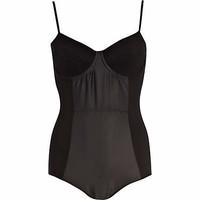 Black contrast panel moulded cup body - bodies - tops - women