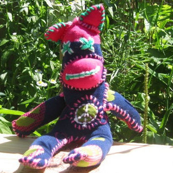 Handmade Evil Sock Cat. Stuffed Hippie  Peace Cat. Evil Sock Critter. Not your average sock monkey. ON SALE WAS 25.00