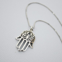 Oxidized Sterling Silver Hamsa Hand Necklace