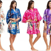 New Women Japanese Yukata Kimono Satin Silk Vintage Robe Sexy Lingerie Hot Geisha Sleepwear