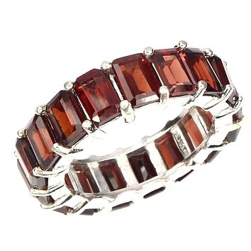A Vintage 14K White Gold Natural 4.5TCW Emerald Cut Mozambique Red Garnet Eternity Ring