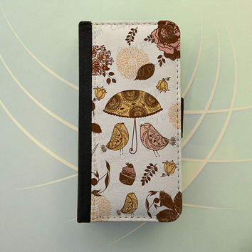 iPhone 4 5 flip case Samsung Galaxy S3 S4 wallet case, leatherette iPhone wallet, book style, Samsung iPhone 5 - Vintage birds, cupcake