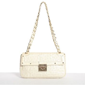 GIANNI VERSACE COUTURE pearl quilted ostrich gold studded shoulder leather bag