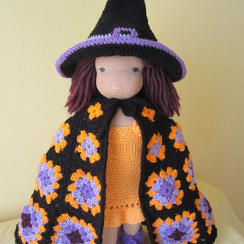 "ON SALE - 10% OFF Crochet Witch Halloween Costume for 16 and 18"" dolls... Waldorf dolls... Granny square cape..."
