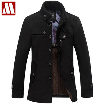 Winter men wool coat Trench casual Wool & Blends outdoors male overcoat