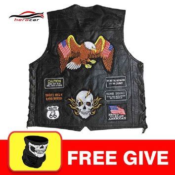 New Genuine Leather Motorcycle Vest Men Punk Retro Classic Style 23 Patches Motorcycle Jacket Biker Club Casual Vest Clothing