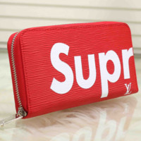 Red SUPREME Leather Wallet