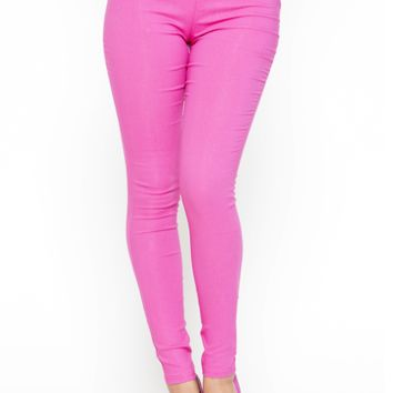 HIGH SOCIETY SKINNY PANT - PINK