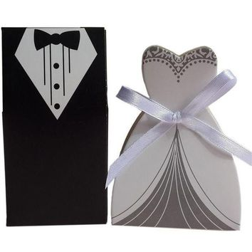 50 Pcs Tuxedo Dress Groom Bridal Wedding Party Favor Gift Ribbon Candy Boxes