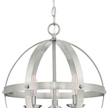 Stella Mira Three-Light Pendant, Brushed Nickel Finish