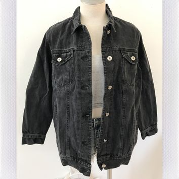 NIGHT OUT HEAVY DENIM JACKET- BLK