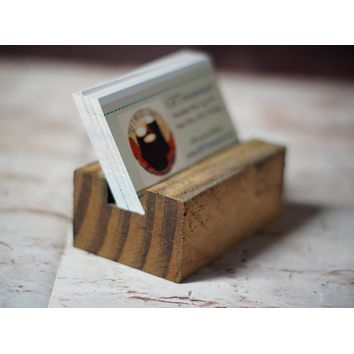 Reclaimed Wood Business Card Holder