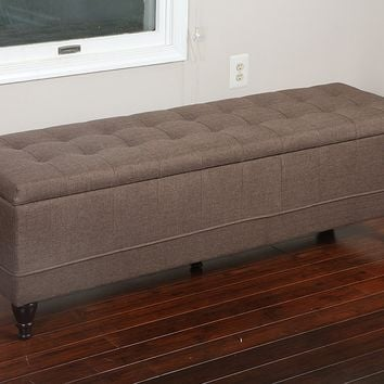 New Century® Linen Upholstered Ottoman Storage Bench, Brown
