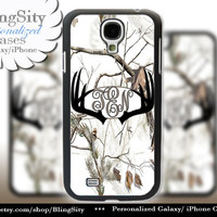 Black Antlers Monogram Galaxy S4 case S5 Real Tree Camo White Deer Personalized Browning Samsung Galaxy S3 Case Note 2 3 Cover Country Girl