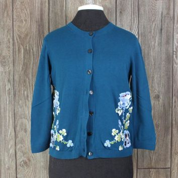 Nice Ann Taylor Loft Cardigan Sweater M size Blue Embroidered Floral Cotton