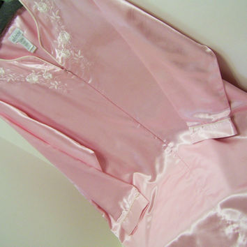 Pink Satin Robe, Front Zip, Long,  Flannel, Brushed Back Satin, Lounging, Sleepwear, Adonna, Size Large, Winter, Resort Cruise Wear
