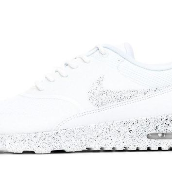 Fashion Online Nike Air Max Thea Running Shoes By Glitter Kicks - Triple White/black Paint Speckle