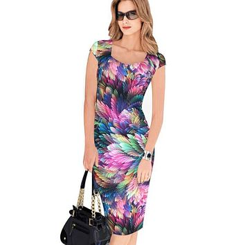Spring Summer Vintage Women Sexy Dress Short Sleeve Knee Length Bodycon Dress Plus Size Office Lady Skinny Party Pencil Dress