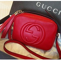 Gucci Stylish Trending Women Shopping Bag Leather Shoulder Bag Crossbody Satchel Red I